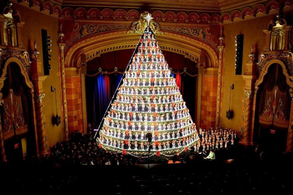 A Singing Christmas Tree, made up of students from the Mona Shores High School Choir