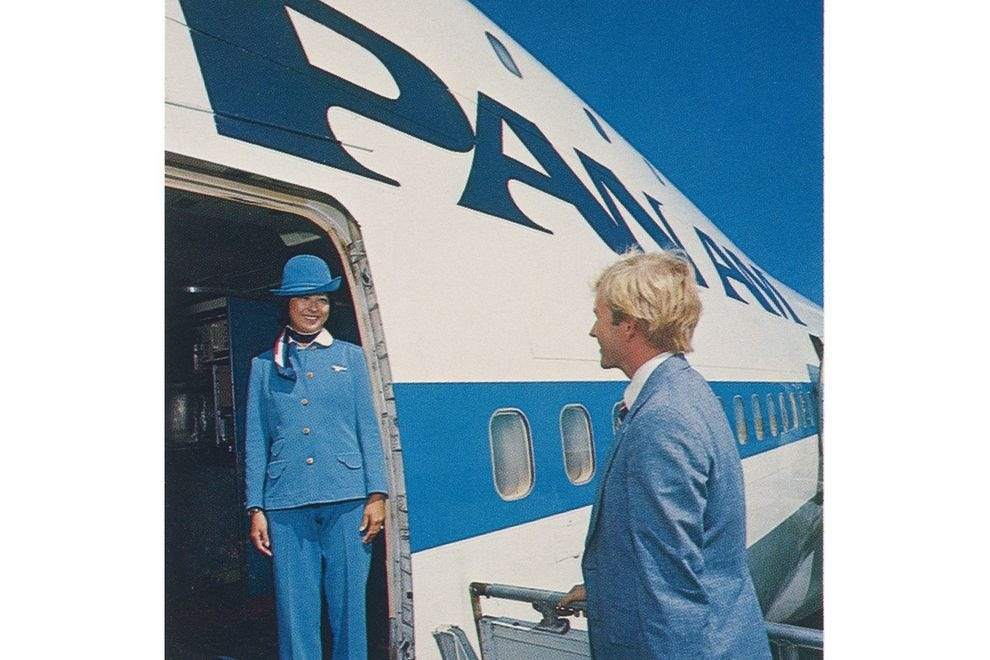 Boarding an airplane in 1980