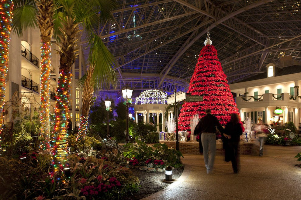 Tree made of 700 poinsettias at Opryland