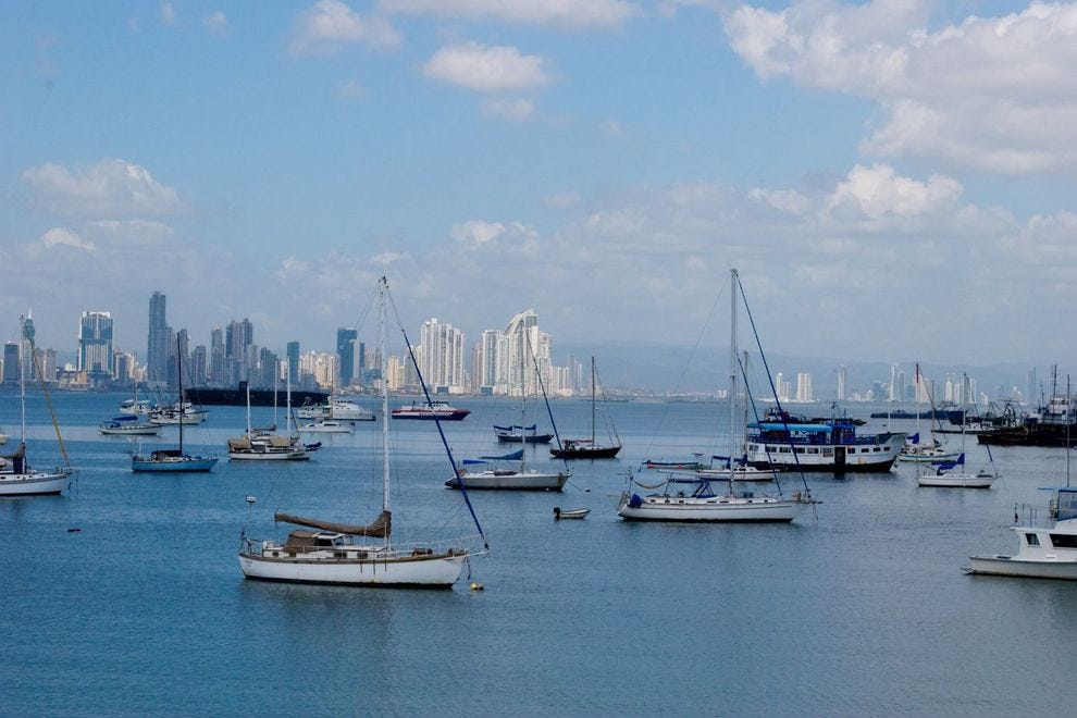 The Panama City skyline across the Gulf of Panama, viewed from Amador Causeway.