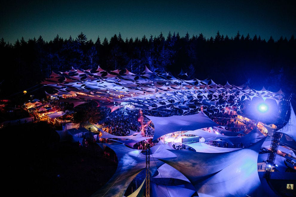 Pickathon's Mt. Hood stage glows after the sun sets