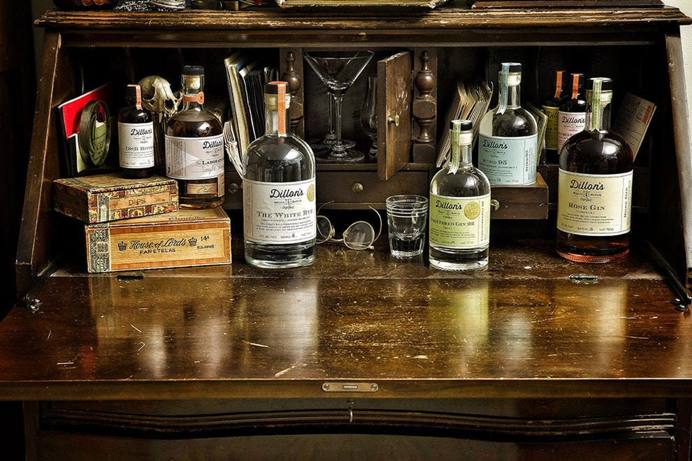 Rye whisky, white rye, gin and bitters are handcrafted at Dillon's