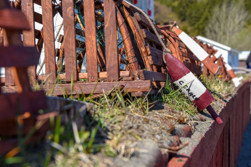 Lobster traps are common lawn decorations throughout the island
