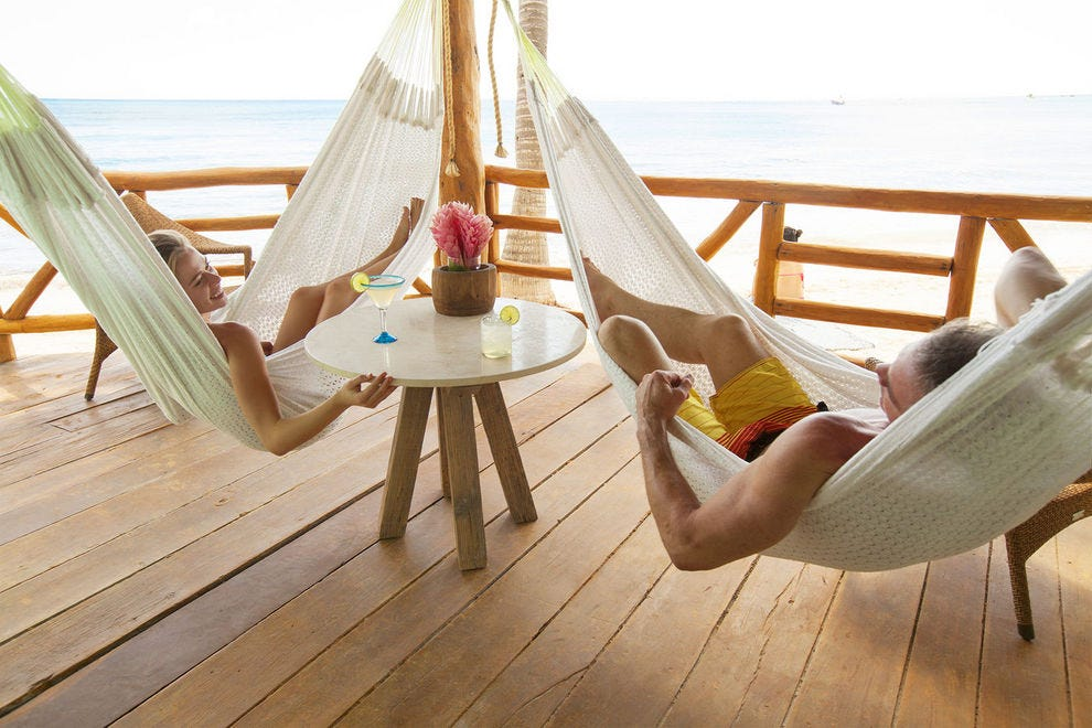 Deck hammocks at Mahekal Beach Resort