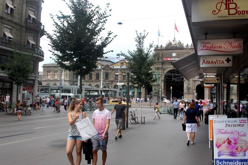 Bahnhofstrasse, where shopping is king