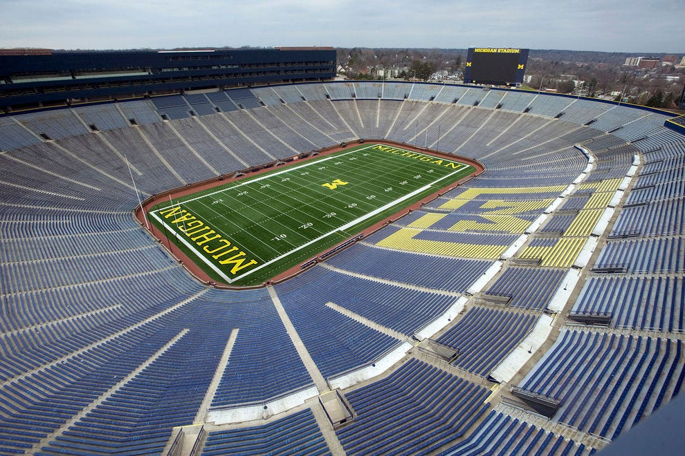 Michigan Stadium, also known as The Big House, hosts home football games in the fall
