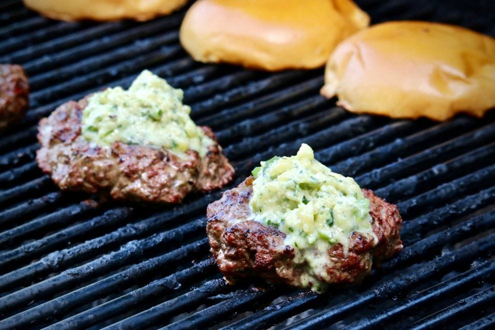 Merry Graham's Salsa Verde Burgers on a grill