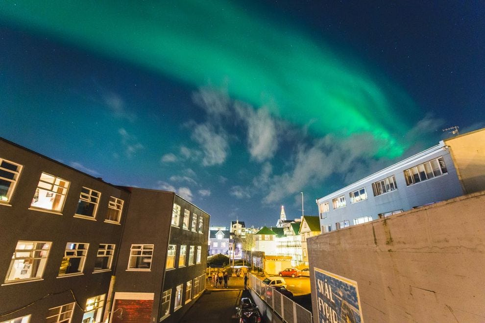 The Northern Lights dazzle above KEX Hostel