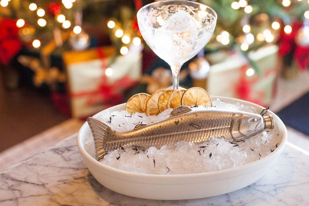"The ""couples"" serving of DoveCote's Fish House Punch has a fun, raw bar-style presentation"