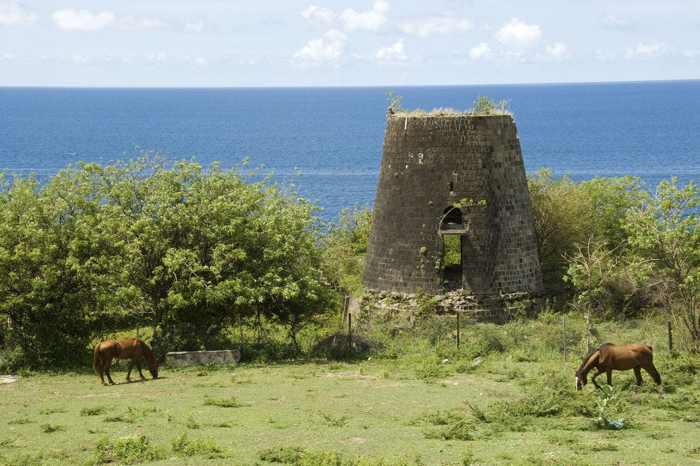 A ruined sugar mill on the island of St. Kitts
