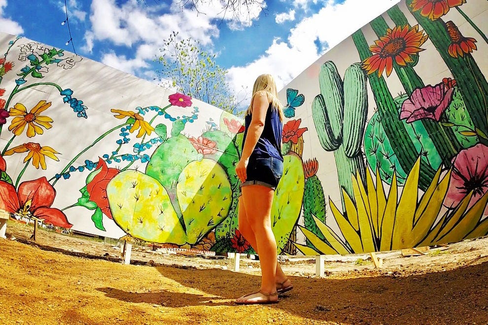 Texas flora and fauna mural by Courtney Miles and Haylee Ryan
