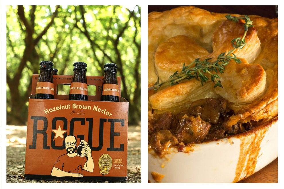 The nutty flavors of this brown ale pair perfectly with a bold beef stew