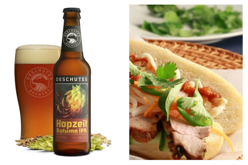 The hop-forward flavors of this märzen-style beer pair well with pork tenderloin