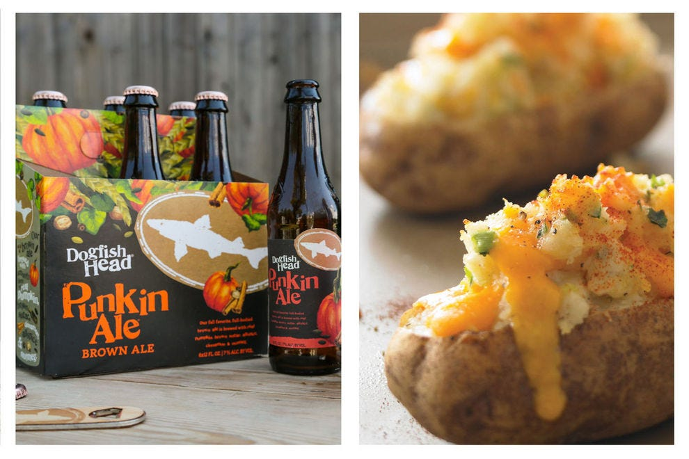 The sharp cheddar in these twice baked potatoes matches perfectly with the warm autumn notes of Punkin Ale