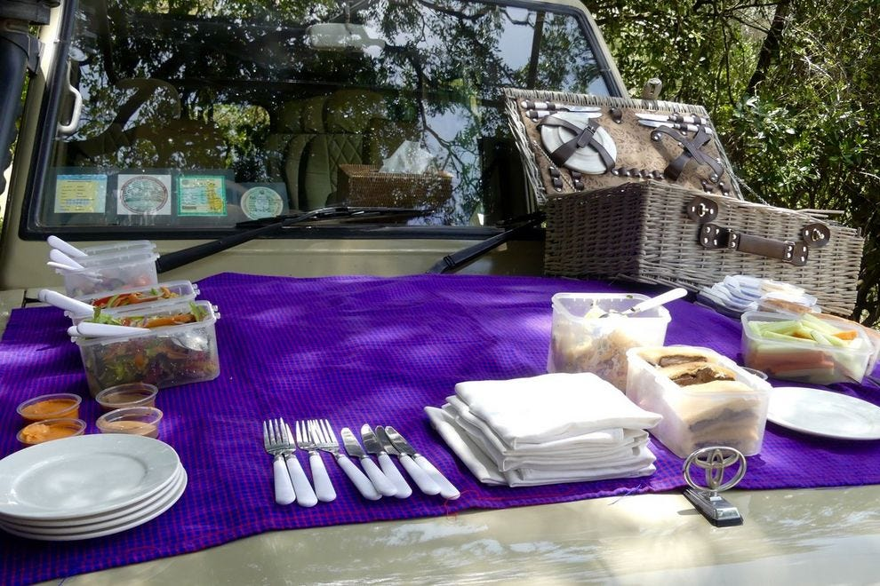 A picnic provided by Four Seasons Serengeti for guests on a game drive showcases the lodge's culinary acumen