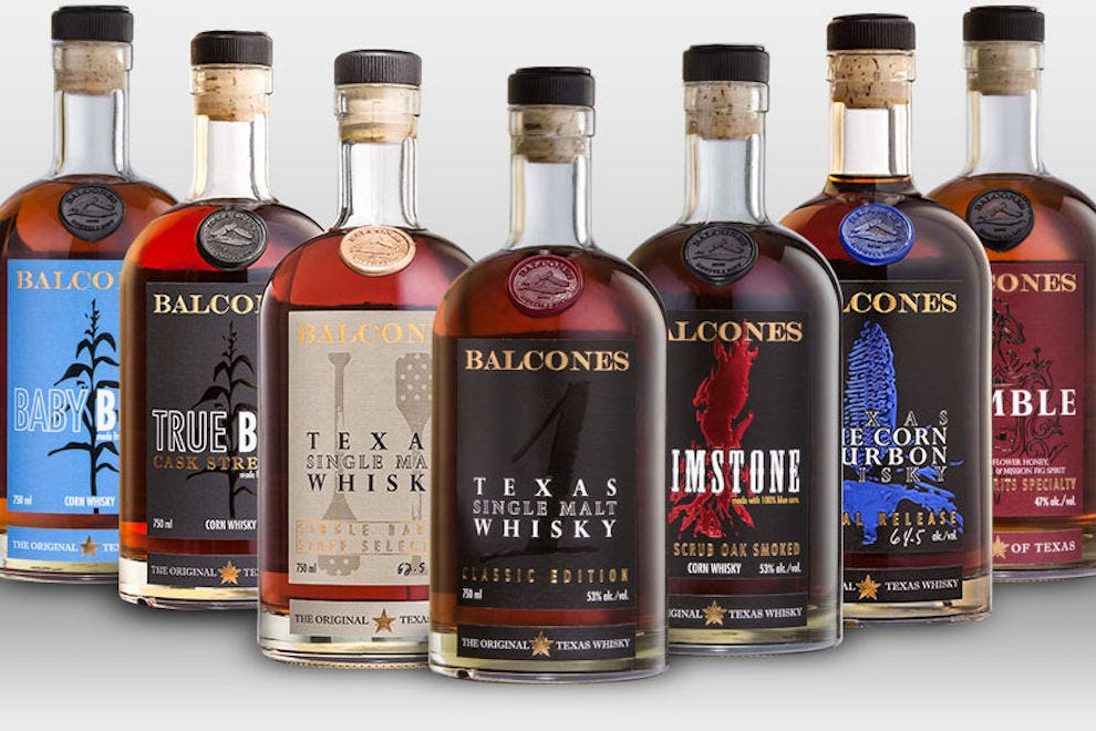 Spirits from Balcones Distilling in Waco, Texas