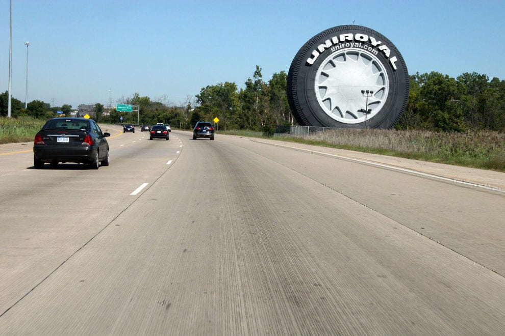 The Uniroyal Giant Tire is clearly visible from I-94