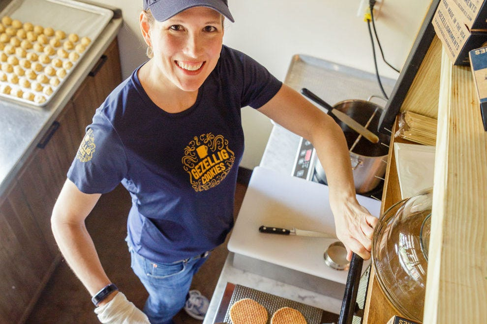 Cassandra Plas makes stroopwafels at East End Market three days a week