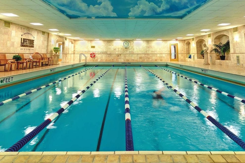 Complimentary access to the Minneapolis LifeTime Athletic Club gives Kimpton Grand guests a chance to work out in a pool, on a squash court or around an indoor track