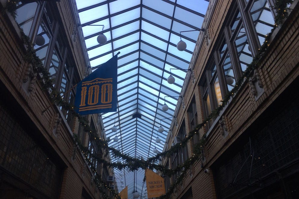 The glass ceiling at Nickels Arcade