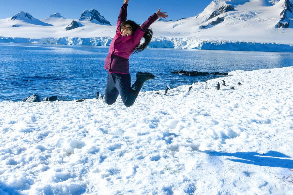 Lin Lin of Paris leaps into the air in celebration of our Antarctic journey