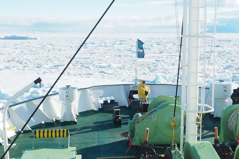 M/v Ortelius drops anchor by Snow Hill Island – sea ice stretches ahead