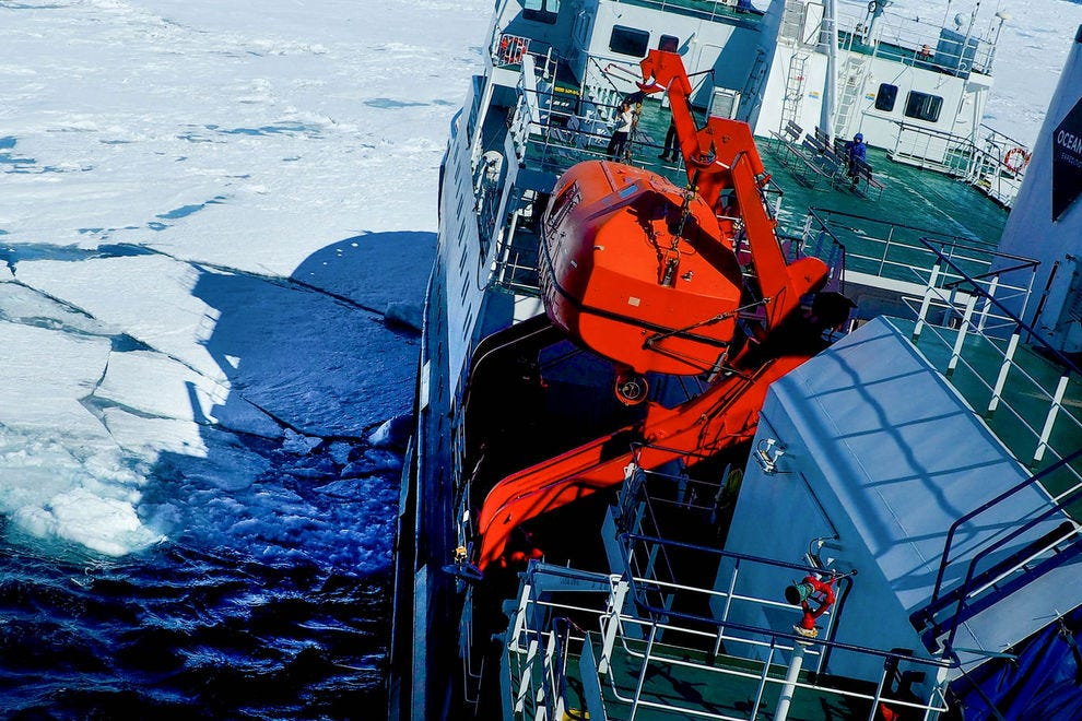 An ice-strengthened hull allows m/v Ortelius to plow through some sea ice