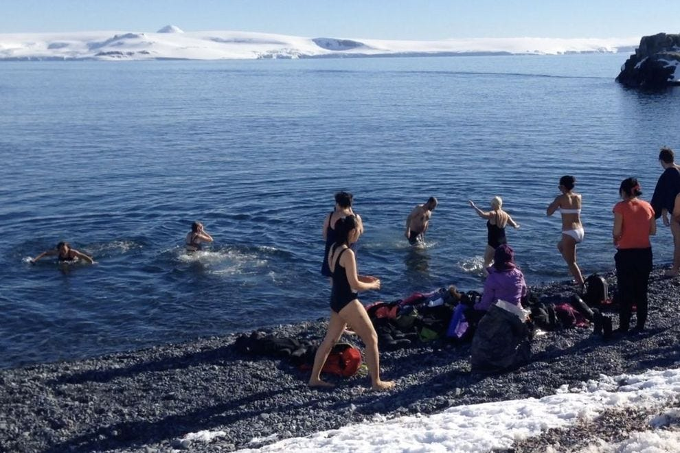This dash into Antarctic waters is the traditional Polar Plunge. The rite of Antarctic passage was held on Half Moon Island