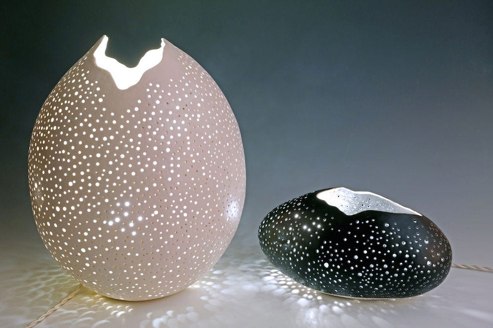 Pierced lamps by Kate Tremel