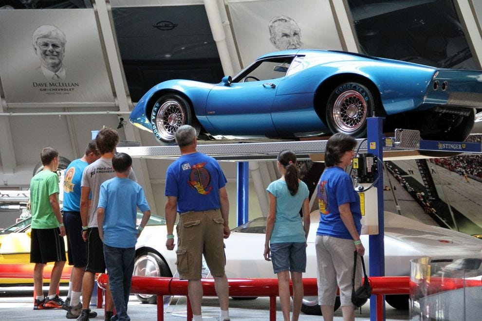 Some 80 Corvettes sit on display in the National Corvette Museum