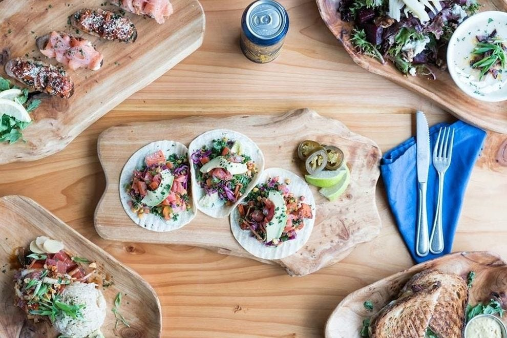 Culture Cafe at Kombucha Town features a friendly, laid-back vibe, cool artwork and tasty menu items like poke and tacos