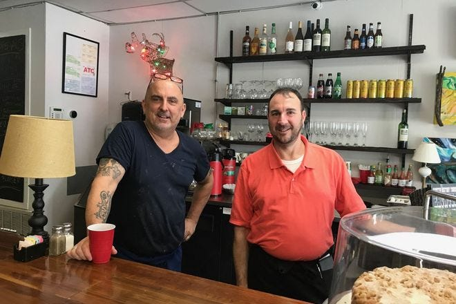 Chef Curtis and server Jonathan take care of tasty business at Polly's Bywater Cafe
