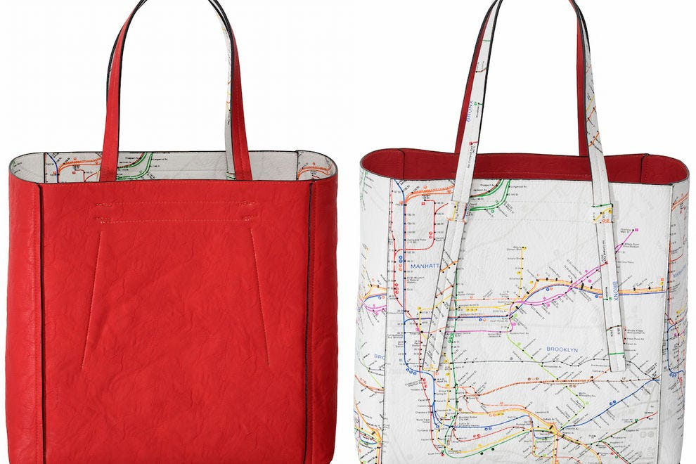 This reversible tote features an authentic NYC subway map