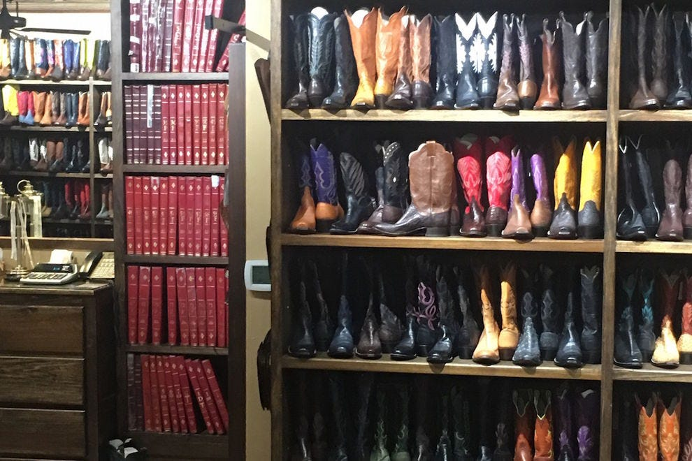 Some of the many shelves of boots (and customer ledgers) at M.L. Leddy's
