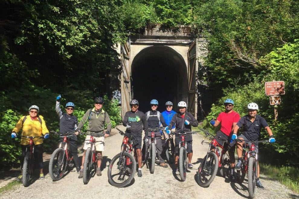 "Compass Outdoor Adventures offers options like  an intro to mountain biking and the ""Snoqualmie Tunnel Adventure"""