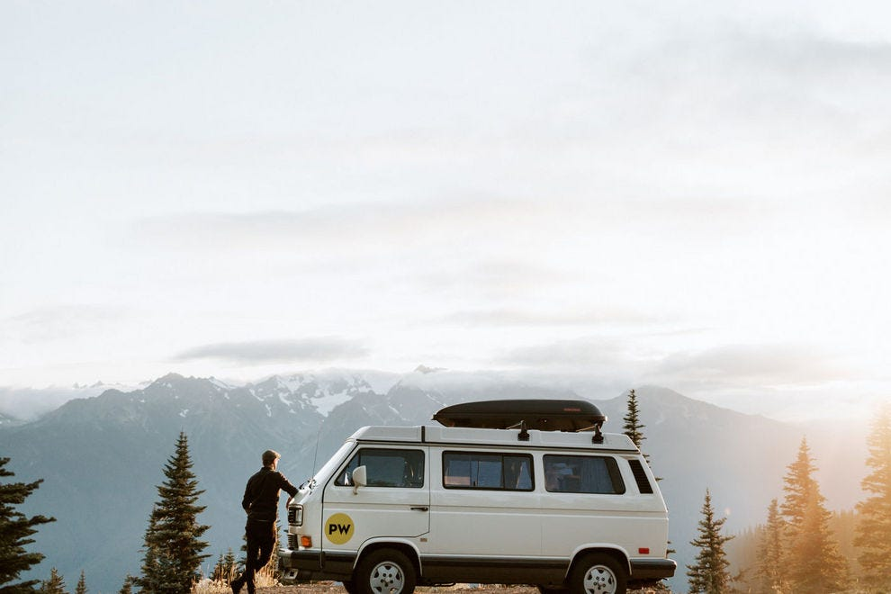 PacWesty's beautifully maintained Volkswagen Vanagons come outfitted with everything from stoves and beach chairs to sleeping bags and French presses