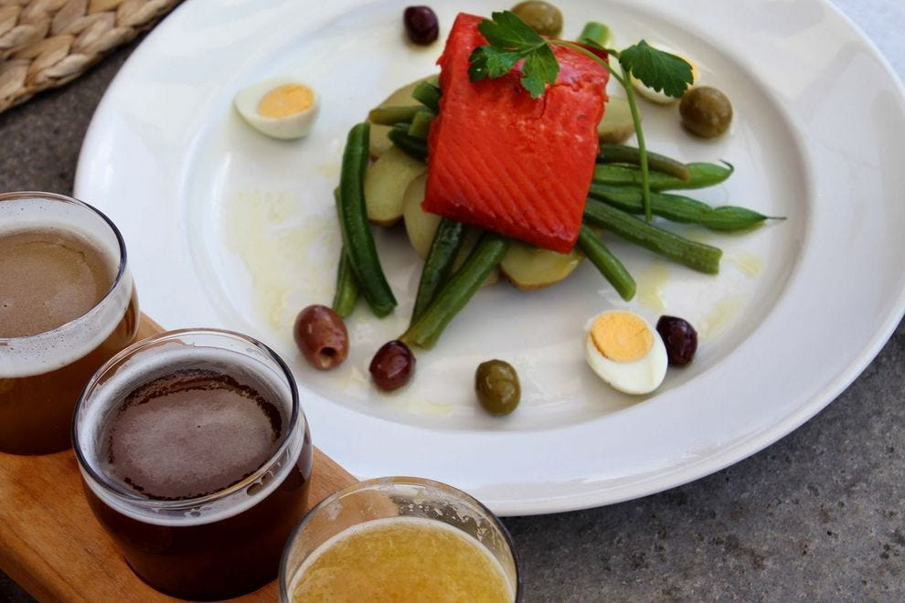 Craft beer & fresh salmon