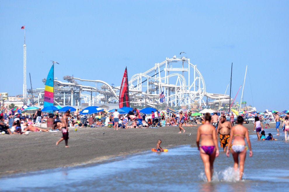 The Wildwood Beach boardwalk features over 100 rides and attractions