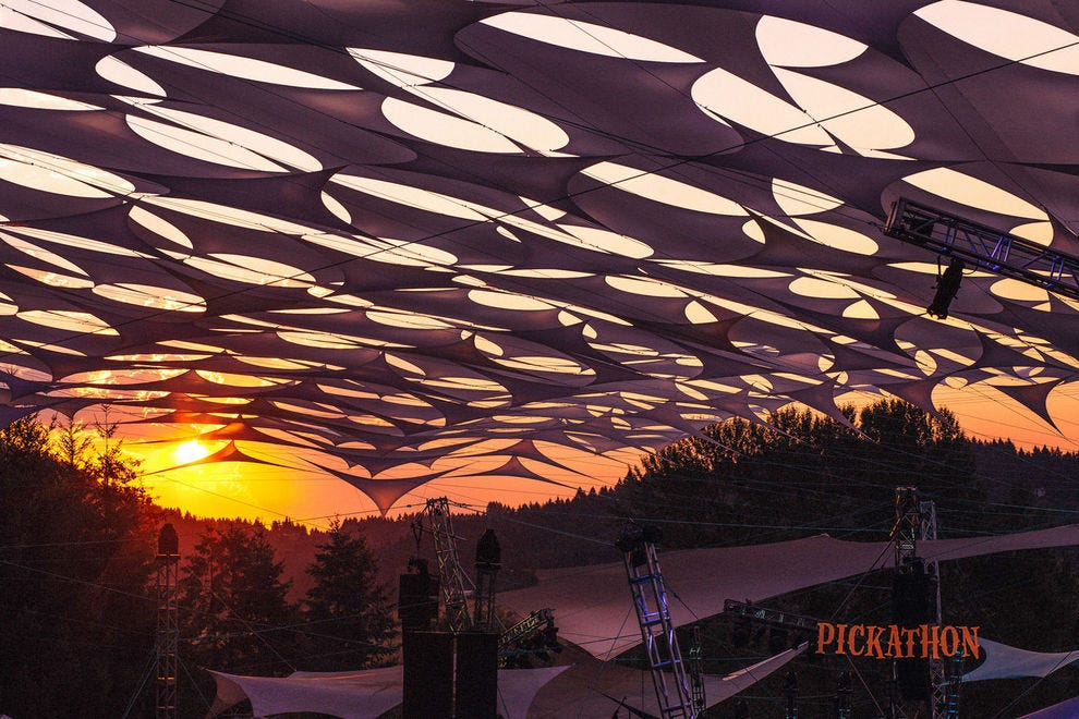 Pickathon's intricate stage set-ups prove highly practical (shade!) and stunningly beautiful