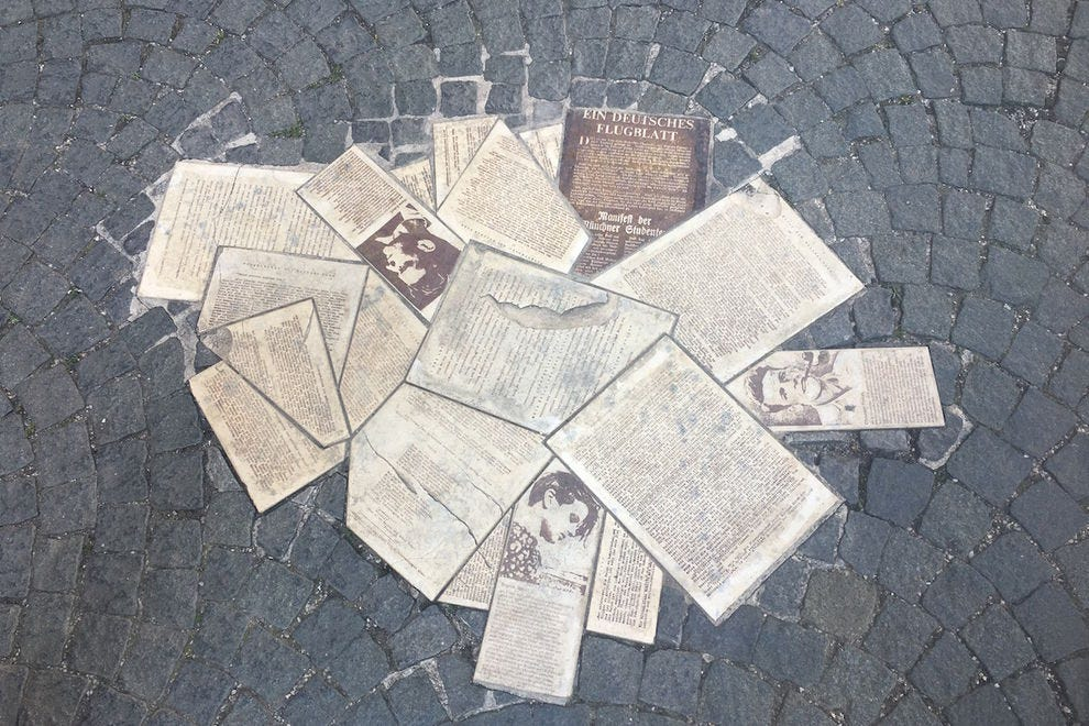 The White Rose memorial pays tribute to a group of students who distributed anti-Nazi pamphlets