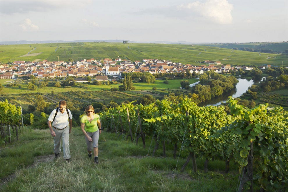 Hiking in the vineyards in Volkach
