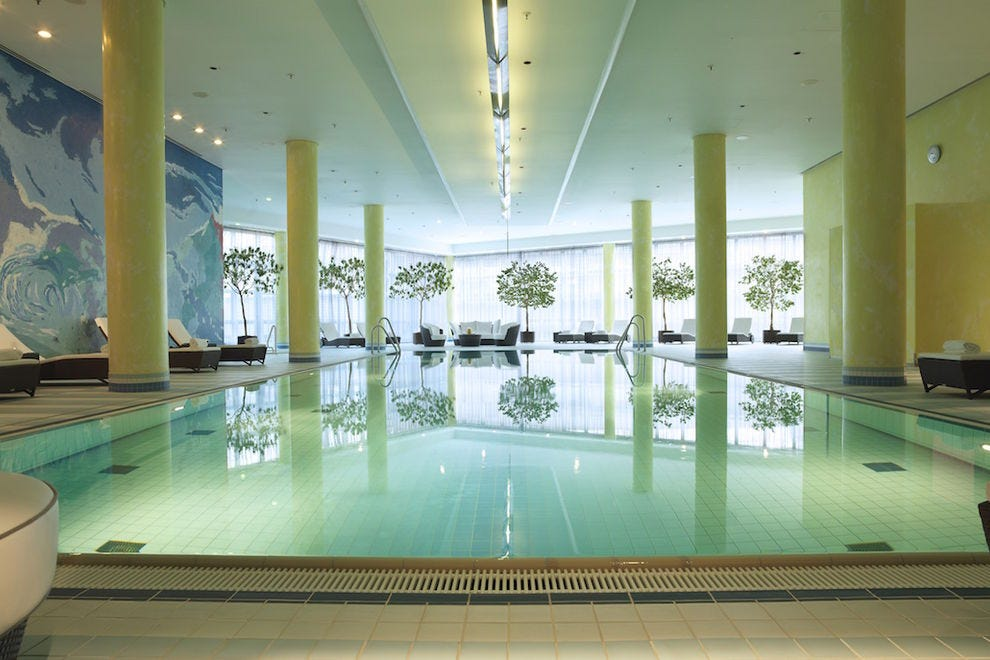 Take a swim in the heated indoor pool at the Hilton Munich Airport's Fit & Fly SPA