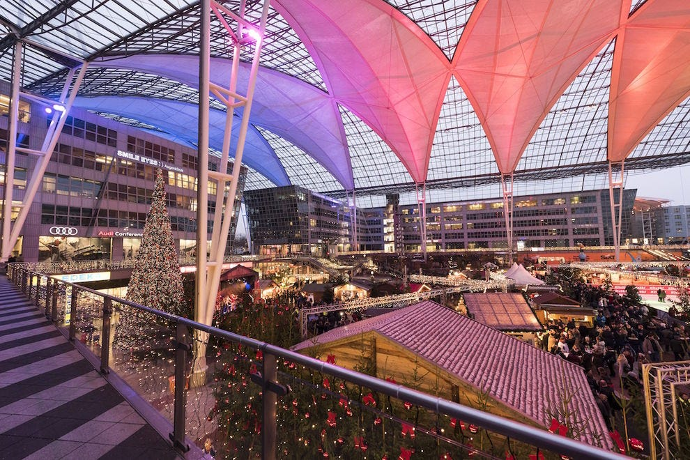 Munich Airport is turned into a magical Christmas market in the winter