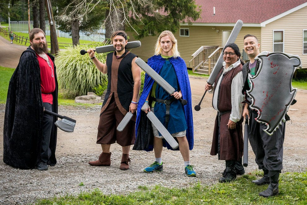 Epic Nerd Campers preparing for a LARPing battle