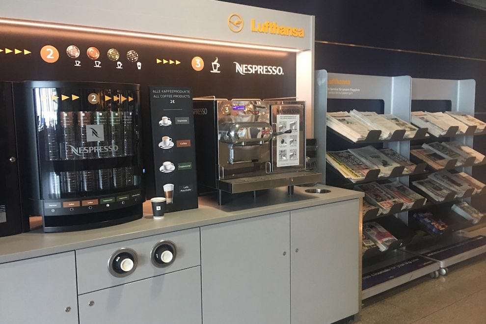 Free newspapers and magazines and 2 euro coffee are available throughout the airport