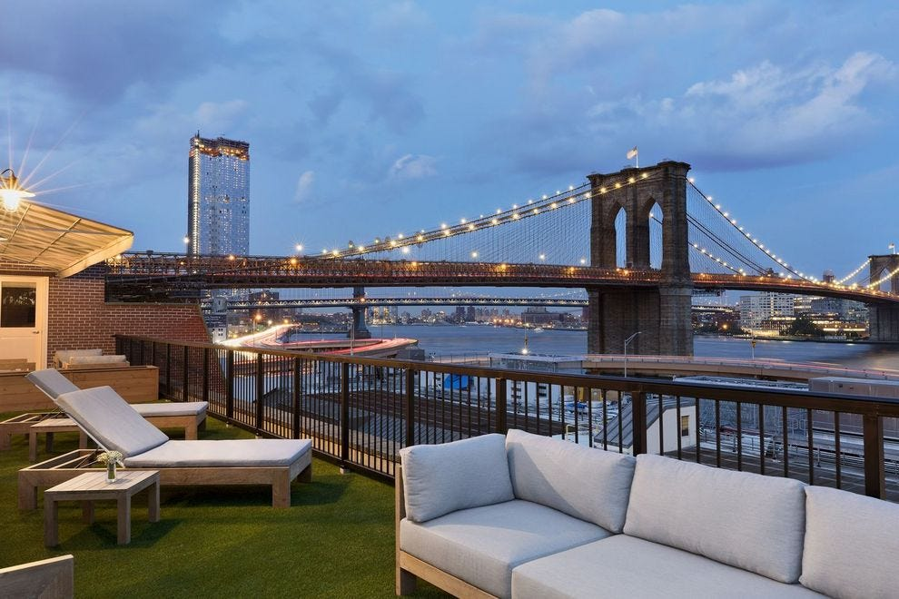 Panoramic views of the Brooklyn Bridge from the terrace at Mr. C Seaport