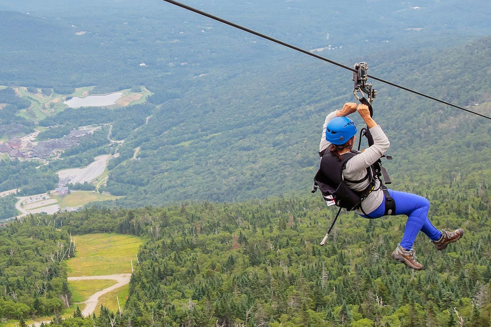 Get a bird's-eye view of the fall foliage on the zip line