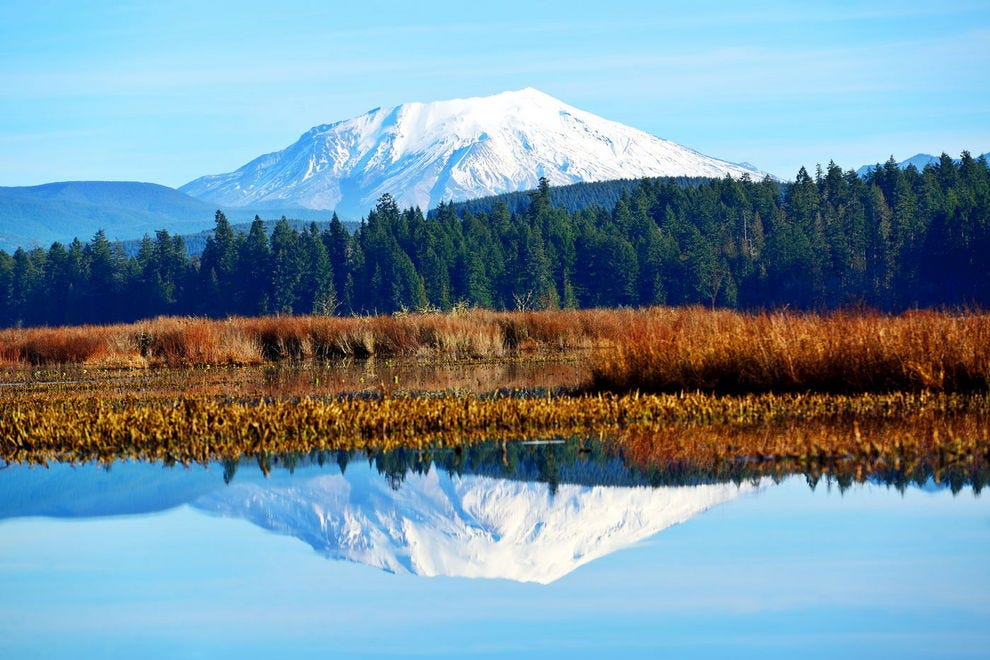 Mt. St. Helens reflected in Silver Lake