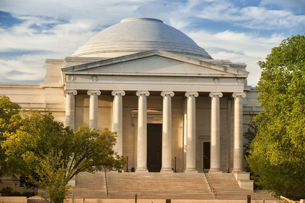 The home of the National Gallery of Art is located within this iconic building on Washington DC's National Mall