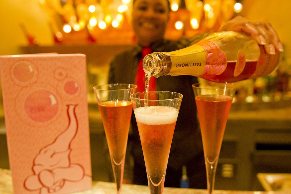 Drink a toast to Dumbo, who inspired the bubbly decorations in Pink, an elegant adults-only lounge on Disney Dream